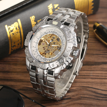 цена Fashion Luminous Function Silver Stainless Steel Hollow-out Design Automatic-self-winding Mechanical Men Wristwatch for Friends онлайн в 2017 году