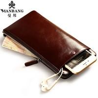 Manbang di lusso uomini portafogli lunga cerniera frizione borsa di marca dell'annata della pelle bovina del raccoglitore porta carte di credito