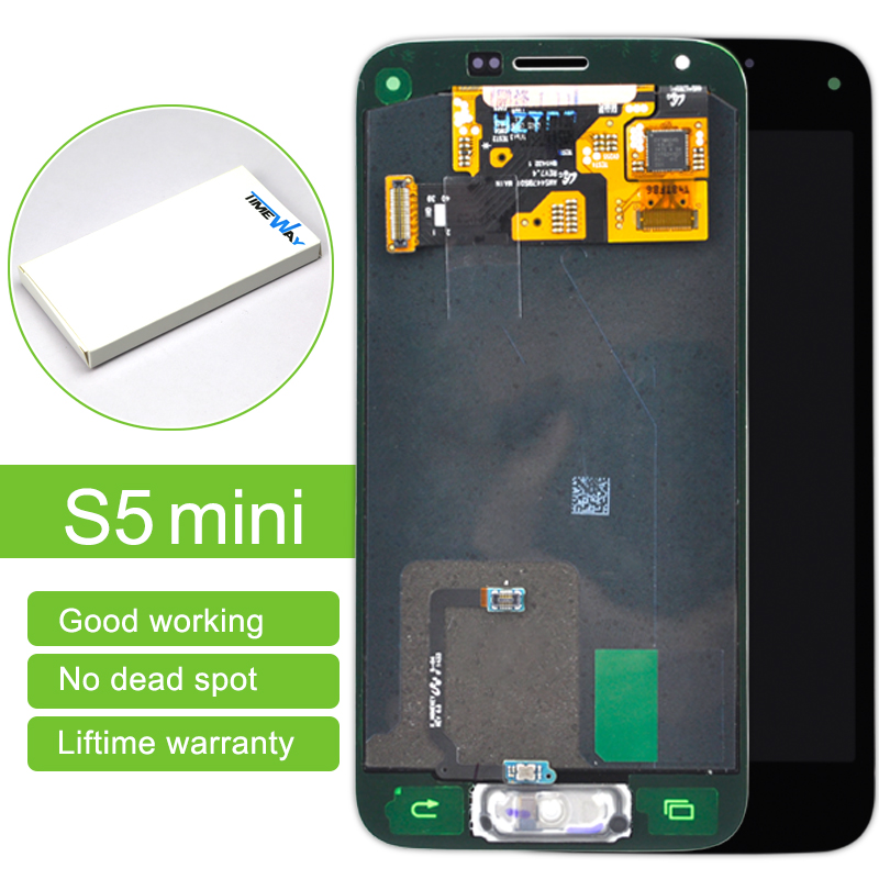 2 pcs Black and white Touch Screen Digitizer + LCD Display Assembly with home button For Samsung S5 Mini with free shipping