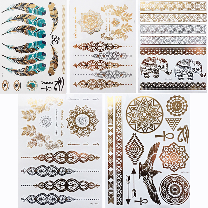 5pcs/lot Waterproof Temporary Tattoo Women Henna Body Arm Art Fake Flash Tatoos Gold Silver Metallic Tatoo Stickers