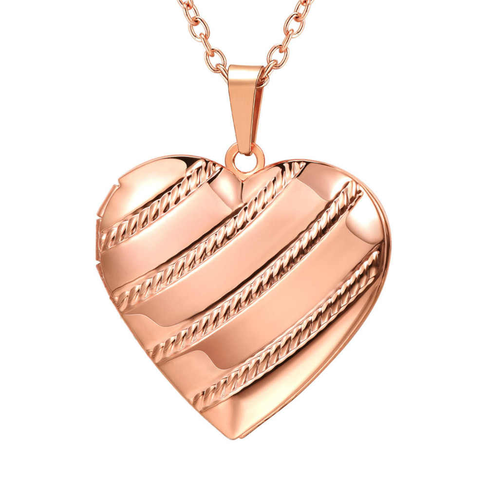 Romantic heart steel/gold/rose gold color floating stripe locket pendant chain necklace vintage classic women jewelry P3535G