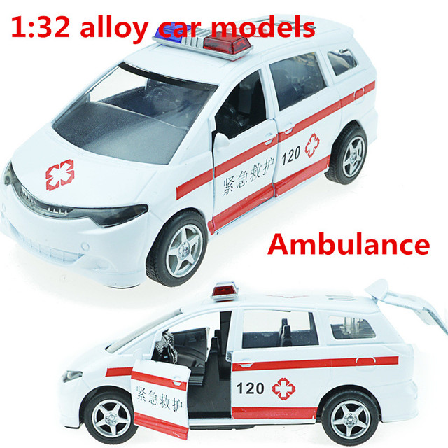 1:32 alloy car models,high simulation ambulance, metal diecasts, toy vehicles, pull back &  flashing & musical, free shipping