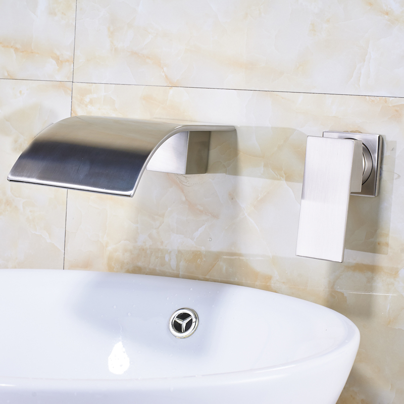 Contemporary Brushed Nickel Bathroom Tap Dual Hole 1 Handle Wall Mounted Sink Faucet  Hot and Cold Water Waterfall Mixers