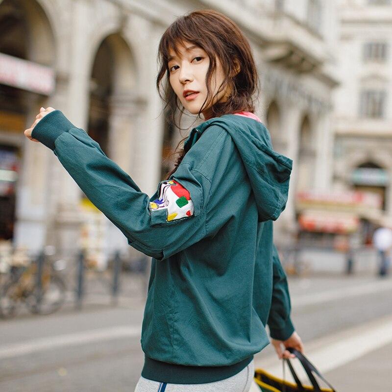 INMAN 2018 Nuovo Colore Solido di Arrivo di Applique Coulisse Felpe di Base Della Chiusura Lampo Giubbotti-in Giacche basic da Abbigliamento da donna su  Gruppo 1
