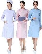 Abrigo grueso de manga larga para enfermera, 3 colores, para otoño e invierno, monos ajustados con cuello blanco, servicio de médico, ropa de belleza
