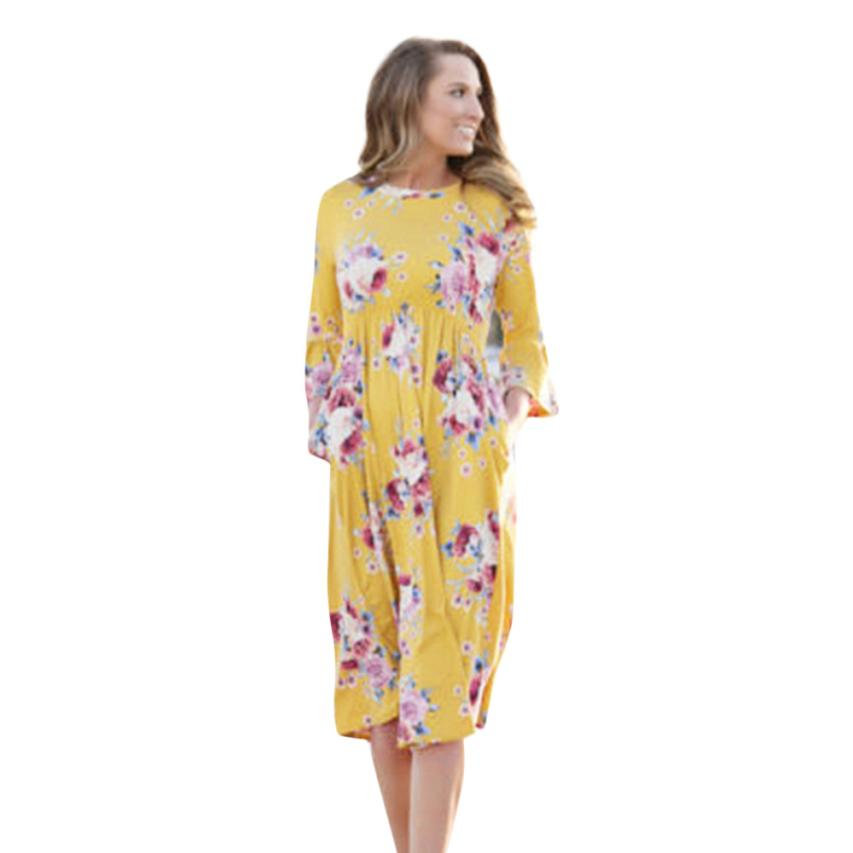 dresses womens beach 2018 summer Casual Print Mom and Me Baby Lady Print Match Mother Family Dress Sundress Clothes 5.28