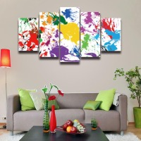 5 Panel Printed Artistic Abstract Colorful Painting On Canvas For Home Decor Living Room Wall Art