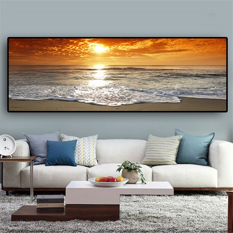 Sunsets Natural Sea Beach Landscape Posters and Prints Canvas Painting Panorama Scandinavian Wall Art Picture for Sunsets Natural Sea Beach Landscape Posters and Prints Canvas Painting Panorama Scandinavian Wall Art Picture for Living Room
