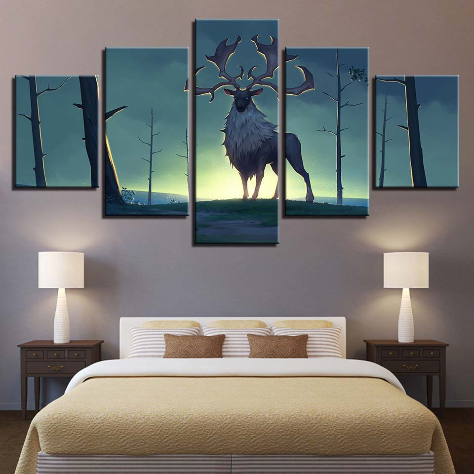 Animal Print Deer Dog Bear Lion Canvas Paintings Poster Wall Print Canvas 5 Panel Home Decorations Living Room Abstract 321