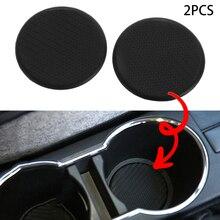 2 шт черный Автомобильный слот для чашки воды нескользящий коврик из углеродного волокна аксессуары для салона автомобиля аксессуары