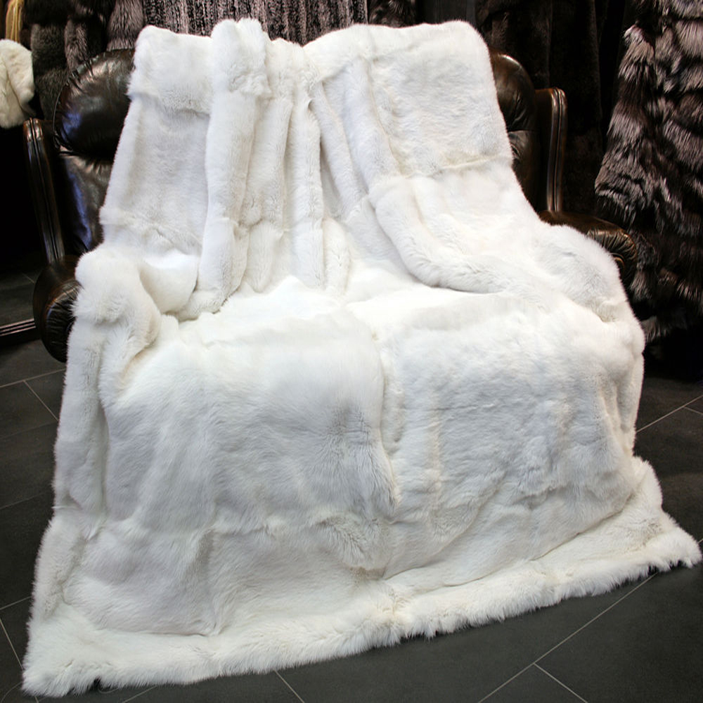 2018 White Rabbit Fur Rug Real Rabbit Fur Blanket Rugs And
