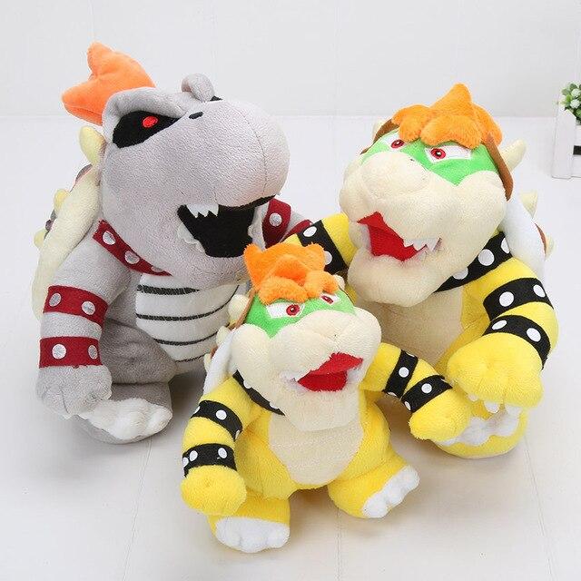 17-24 cm anime Super Mario Land 3D Osso de pelúcia dragão de Pelúcia Bowser Koopa Reforçar Ossos Secos brinquedo de pelúcia bichos de pelúcia macia boneca