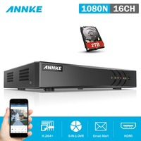 ANNKE 16CH 1080N 5in1 CVBS TVI CVI AHD IP Network HD TVI H.264+ DVR 2TB for CCTV Security Camera System =HIK DS 7216HGHI F1/N