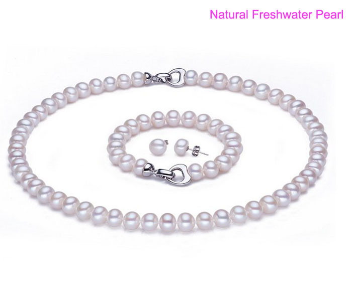Margarite naturelle 10mm AAA eau douce, 1 * collier de perles + 1 * Bracelet de perles + 2 * cadeau de rigueur d'oreille de goujon, ensemble de bijoux de femmes hommes sans collier