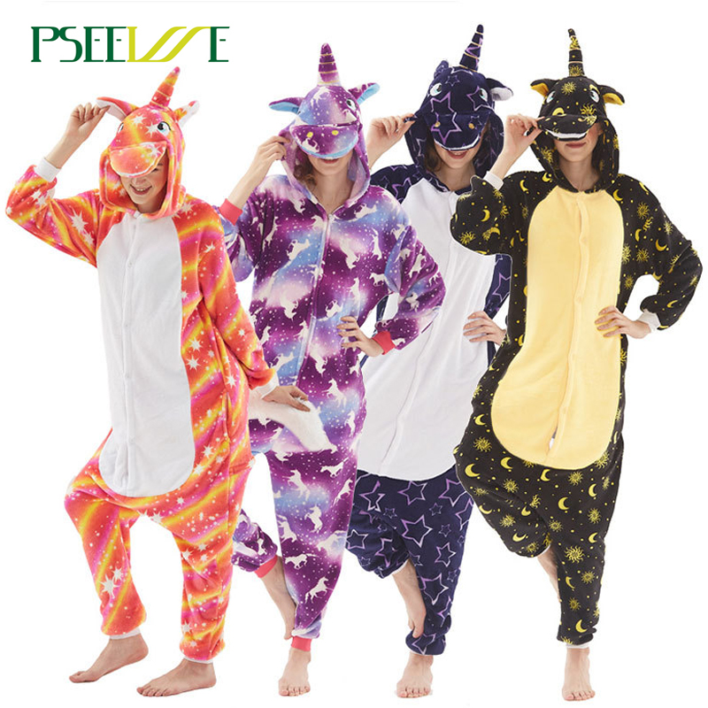 PSEEWE Adults Animal   Pajamas     Sets   Cartoon Sleepwear Cosplay Winter Nightie Stitch unicornio Sleepwear for Women Men Adults