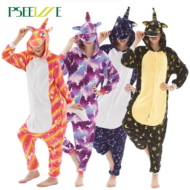 PSEEWE Adults Animal   Pajamas     Sets   Cartoon Sleepwear Cosplay Winter Nightie Stitch unicornio Sleepwear for Women Men Adults