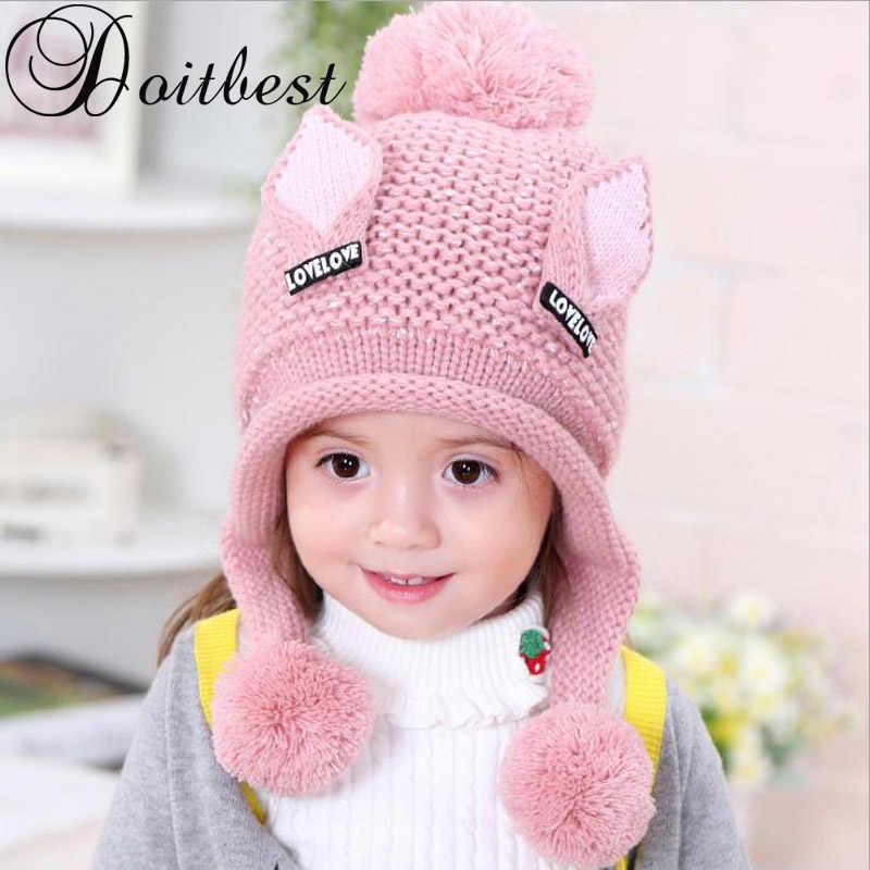 2017 Más el terciopelo niños gorros gato orejas de lana sólido invierno  sombrero hecho punto Niño e75f310b312