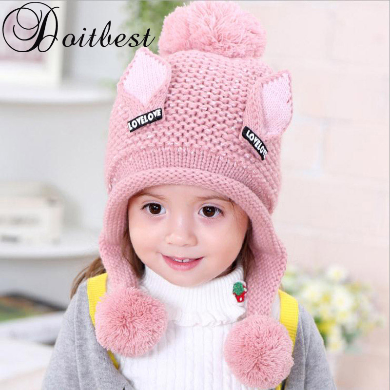 Doitbest 2-6 Y Plus velvet boy   Beanies   Cat ears wool solid Winter Baby Child knitted hat kids girls Earflap Caps