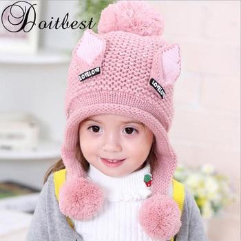 06315989a Doitbest 2-6 Y además de terciopelo boy gorros gato orejas de lana sólido  invierno