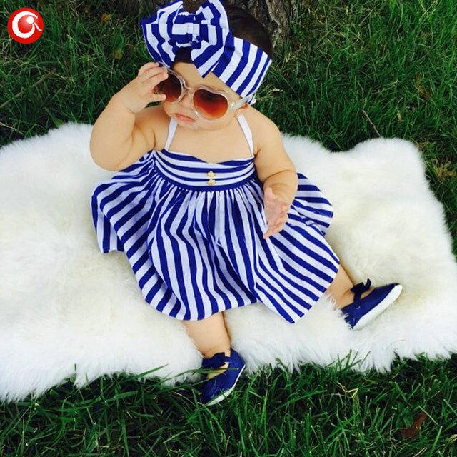 Crianças Meninas Vestido 2016 Verão 2 pçs/set Marinha Vestido Listrado + Headband do Ternos Crianças Menina Azul & Branco Listrado Sem Mangas roupas