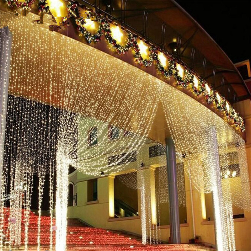 LED String 3MX3M 300LED Curtain Light Icicle Christmas Light 3*1m Fairy Light Garland Birthday Party Garden Wedding Home 220V