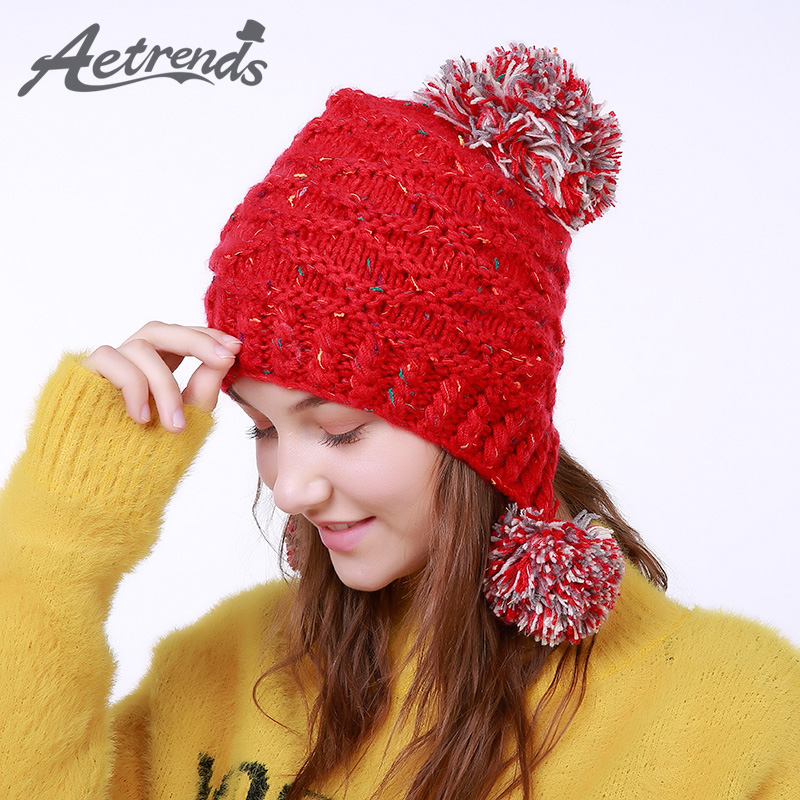 [AETRENDS] 2017 Winter Beanie Hats for Women Warm Knitted Female Caps Beanies Pompom with Top Ball Z-5995 2016 new beautiful colorful ball warm winter beanies women caps casual sweet knitted hats for women outdoor travel free shipping