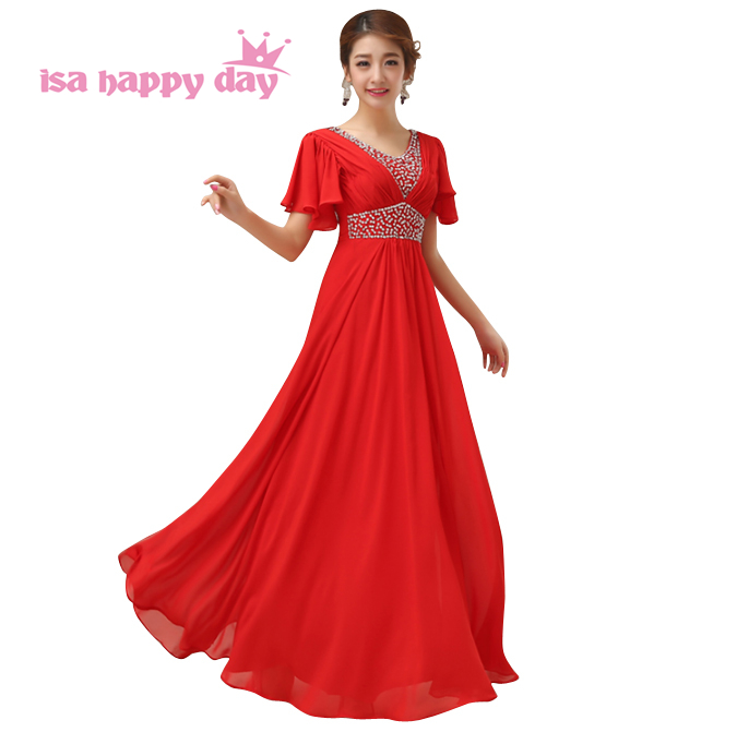 US $42.37 5% OFF|women 2019 new arrive v neck red carpet evening dresses  plus size formal dress from the chiffon with cap sleeves H2258-in Evening  ...