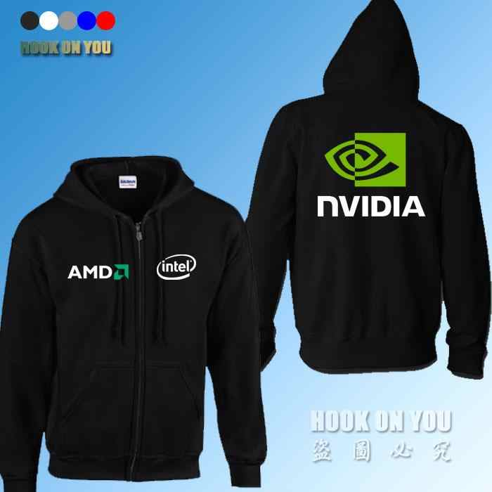 GPU Graphics Nvidia LOGO Print sweatshirts AMD intel Nvidia Hoodies Gamer clothing fleece zipper Hoodies