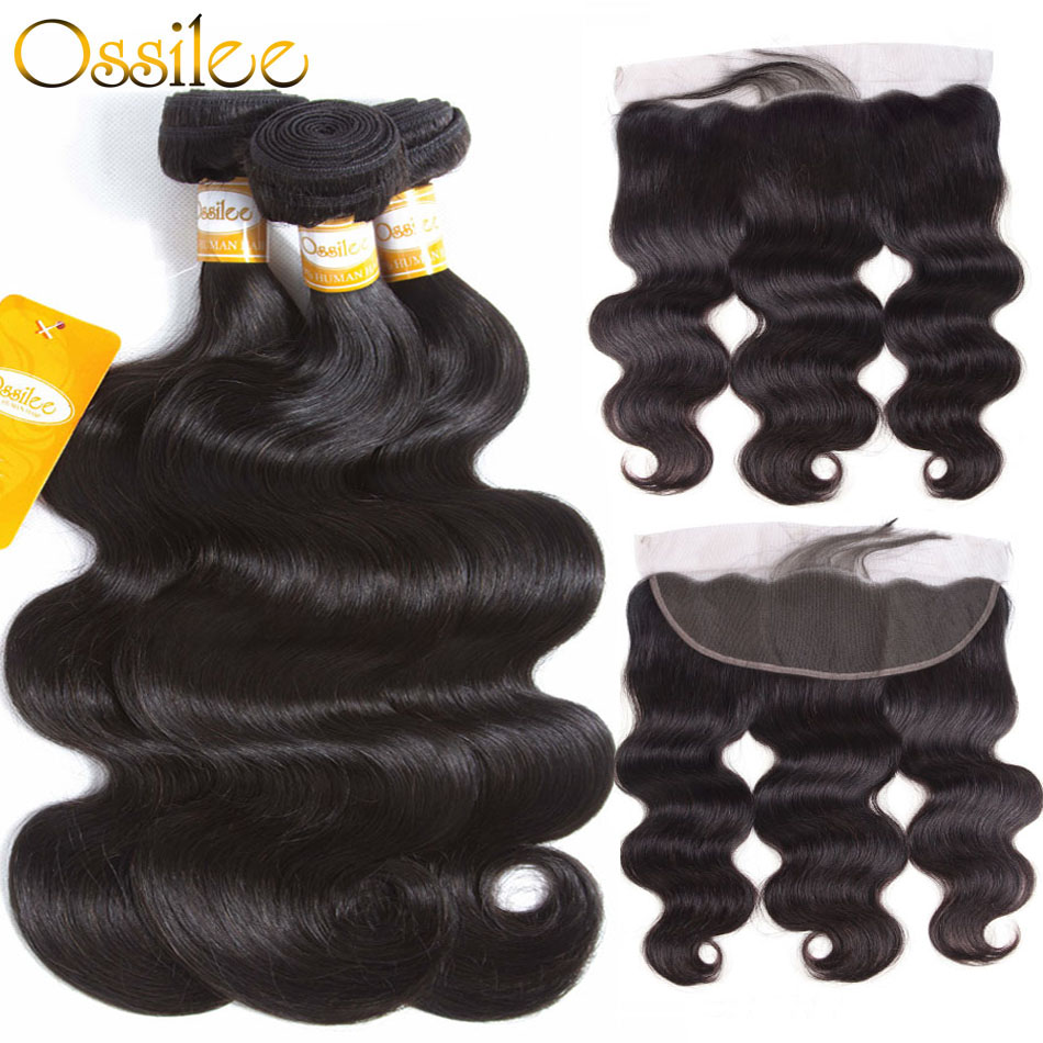 Ossilee brasilianske Body Wave 3 Bundles With Lace Frontal Closure - Menneskehår (sort)
