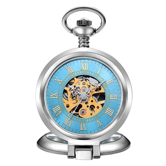 Hot Sale Unique Men Women Mechanical Pocket Watch Silver Stainless-steel Case Gl