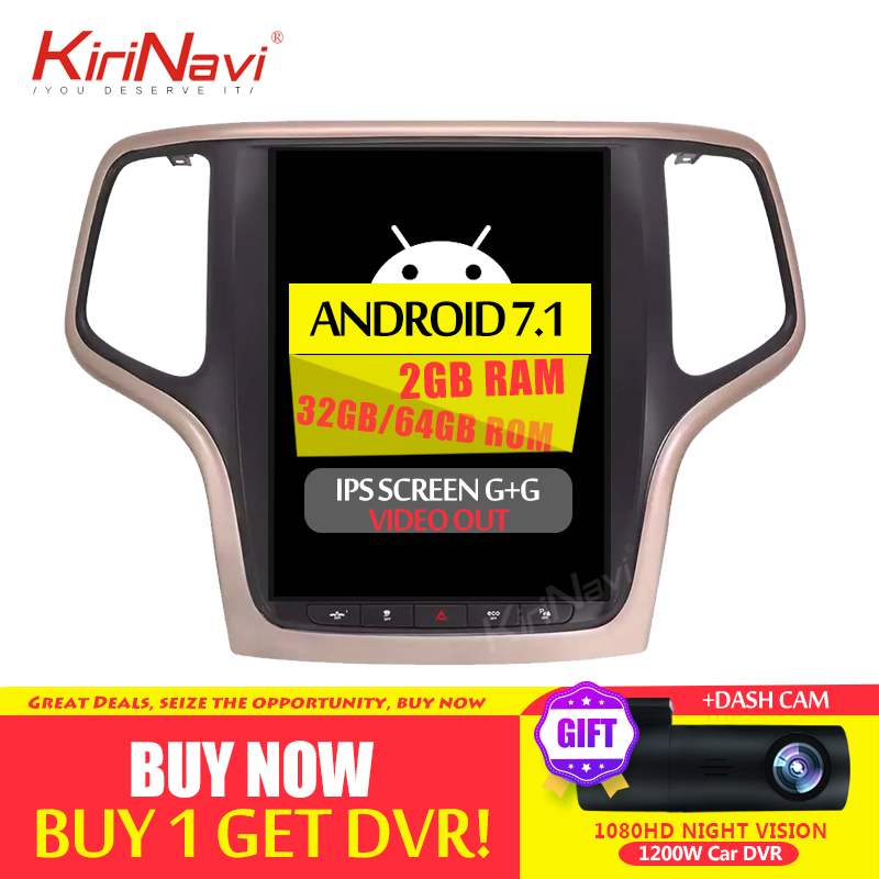 KiriNavi 10.4 PX6 Android 8.1 autoradio GPS pour JEEP Grand Cherokee voiture DVD Radio Audio GPS Navigation 2014 + Bluetooth WIFI 4G