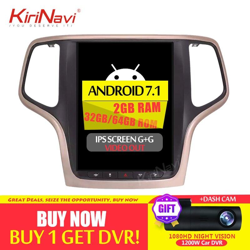 KiriNavi 10,4 de pantalla Android 7,1 Para JEEP Grand Cherokee coche DVD Radio GPS de Audio Monitor de navegación Multimedia jugar