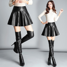купить Leather skirt high waist a word short skirt female pu small leather skirt pants bottom pleated skirt black онлайн