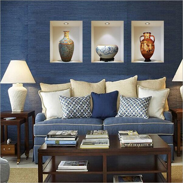 Us 5 6 15 Off 3d Simulation Chinese Style Vase Pvc Removable Wall Stickers Living Room Tv Sofa Background Mural Decal Home Decor Z 002 In Wall