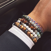 Mcllroy Charms bracelet men tiger stone Natural stone beads bracelet couple bracelets & bangle pulsera hombre jewelry