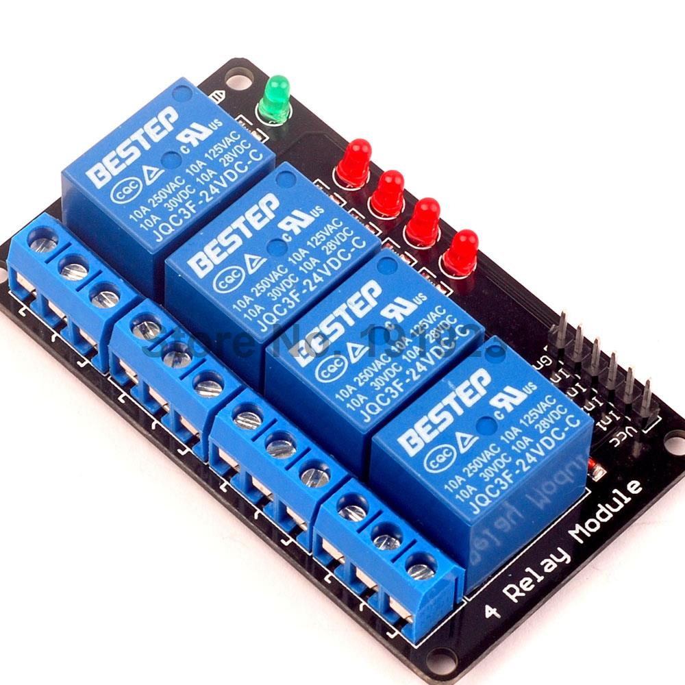 1PCS 4 Channel 24V Relay Module Shield for Arduino ARM PIC AVR DSP Electronic ...
