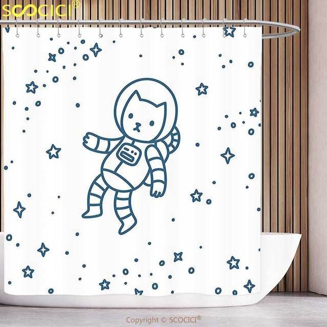 Unique Shower Curtain Kids Cute Cartoon Astronaut Pioneer Cat Flying In Outer Space Doodle Style Constellation Dark Blue