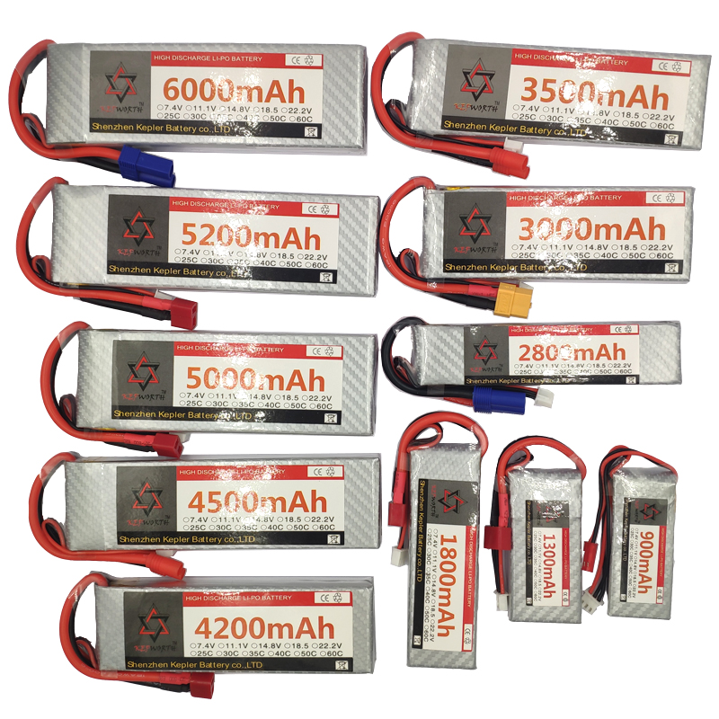 RC LiPo <font><b>Battery</b></font> <font><b>7.4v</b></font> 2S 900 1200 1500 1800 2200 2600 <font><b>2800mAh</b></font> 25 35C LiPo <font><b>Battery</b></font> Rechargeable For RC Toy Car Airplane Helicopter image