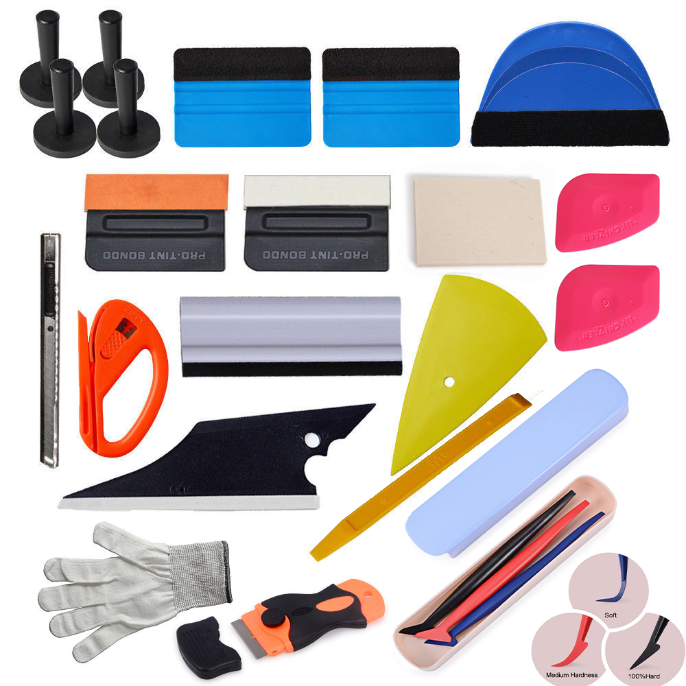 FOSHIO Car Accessories Tool Set Vinyl Carbon Film Wrapping Magnetic Holder Stickers Cutter Knife Auto Window Tint Wrap Squeegee