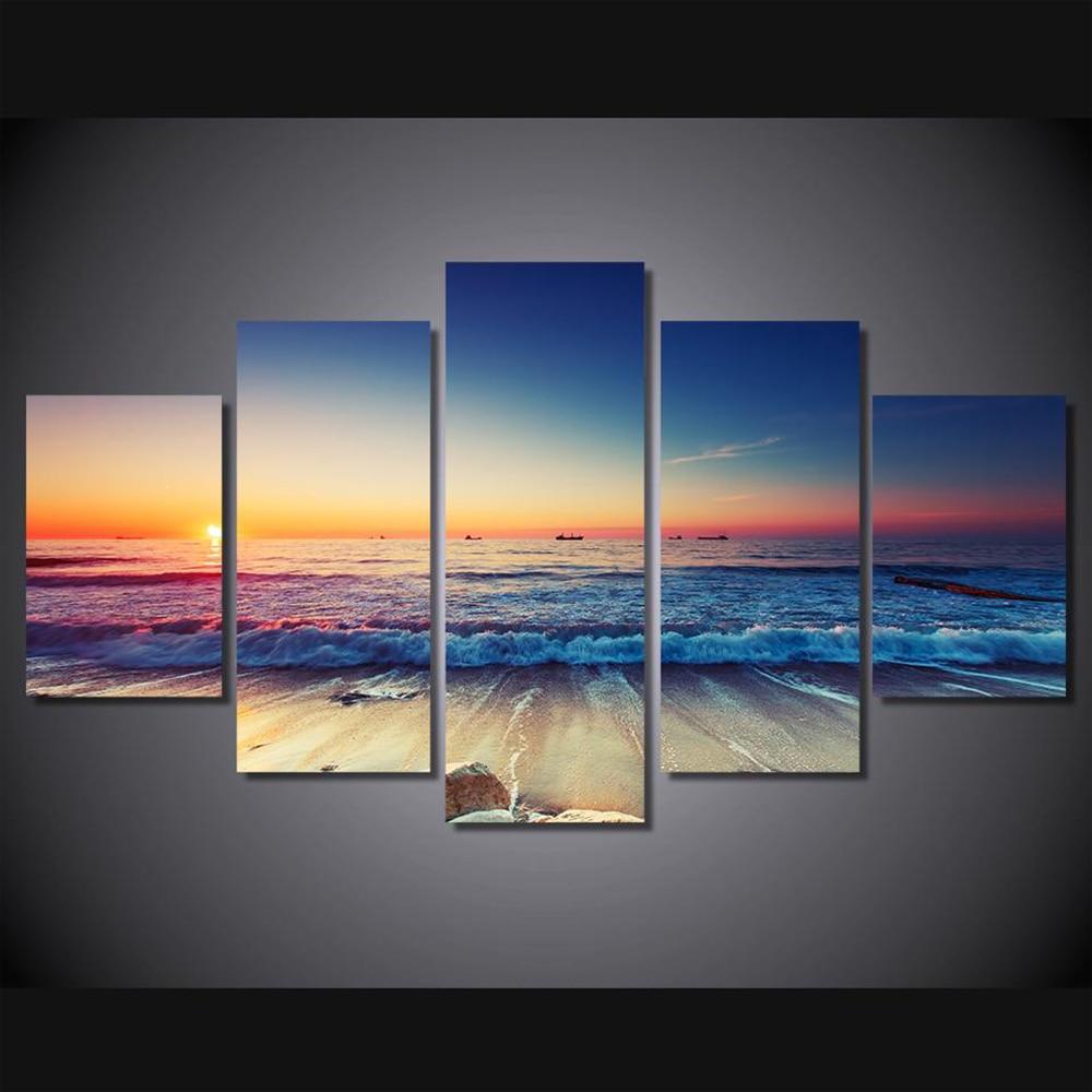 Oil Canvas Painting Modular Sunset Beach Seascape Wall Art