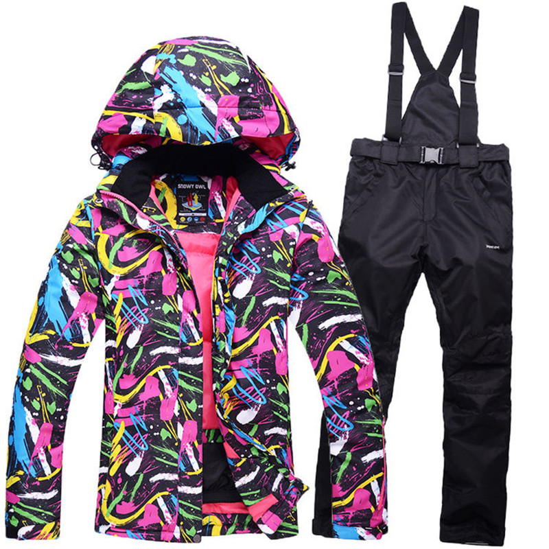 где купить colorful Cheap Snow suit sets Women Snowboarding Clothes Waterproof Windproof -30 Warm Winter Coats Ski Jackets + Bib pants по лучшей цене