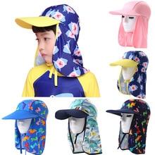 От 2 до 8 лет, Детская Солнцезащитная шапка с защитой от УФ-лучей, шапочка для плавания для маленьких мальчиков и девочек, с защитой от ультрафиолета, пляжная шляпа с рисунком