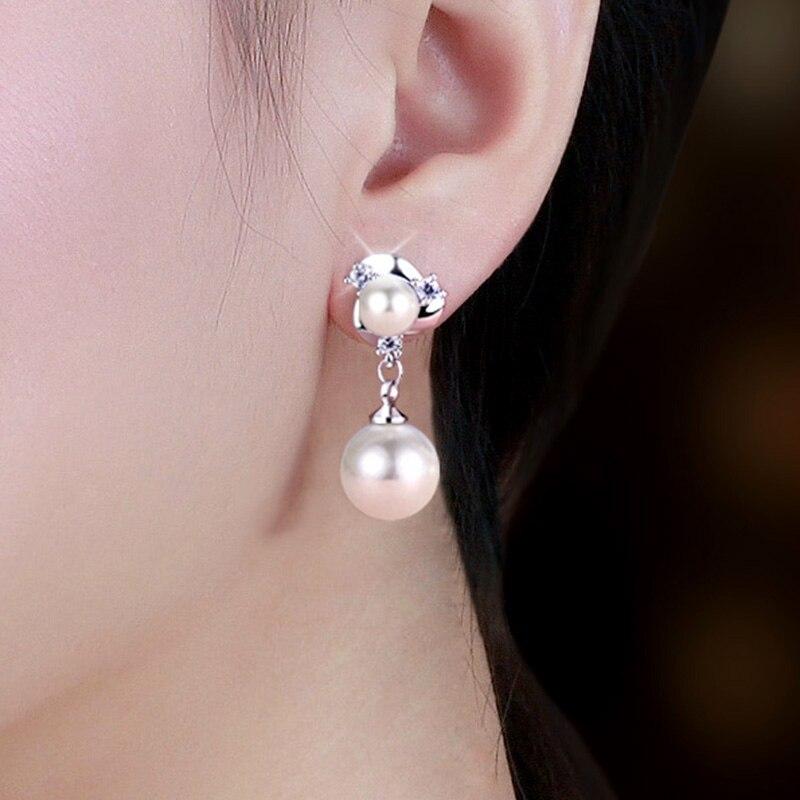 Clous d'oreilles en argent pur perle femelle boucles d'oreilles atmosphériques boucles d'oreilles à longues boucles d'oreille à glands bijoux sans trou HY001