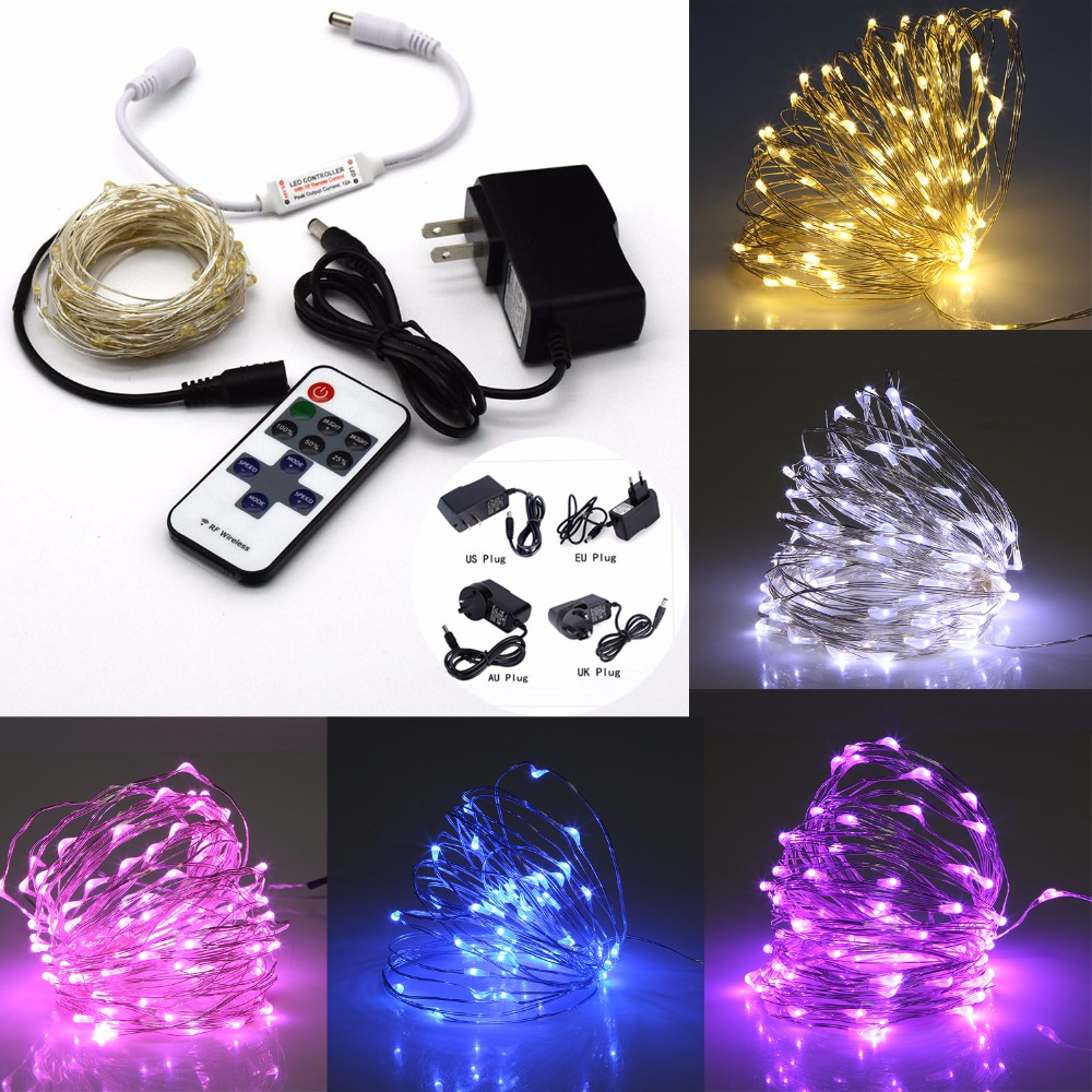 Copper Wire LED String Lights 5M/10M Outdoor Christmas Fairy Lights Warm White Starry Light + remote +Power Adapter