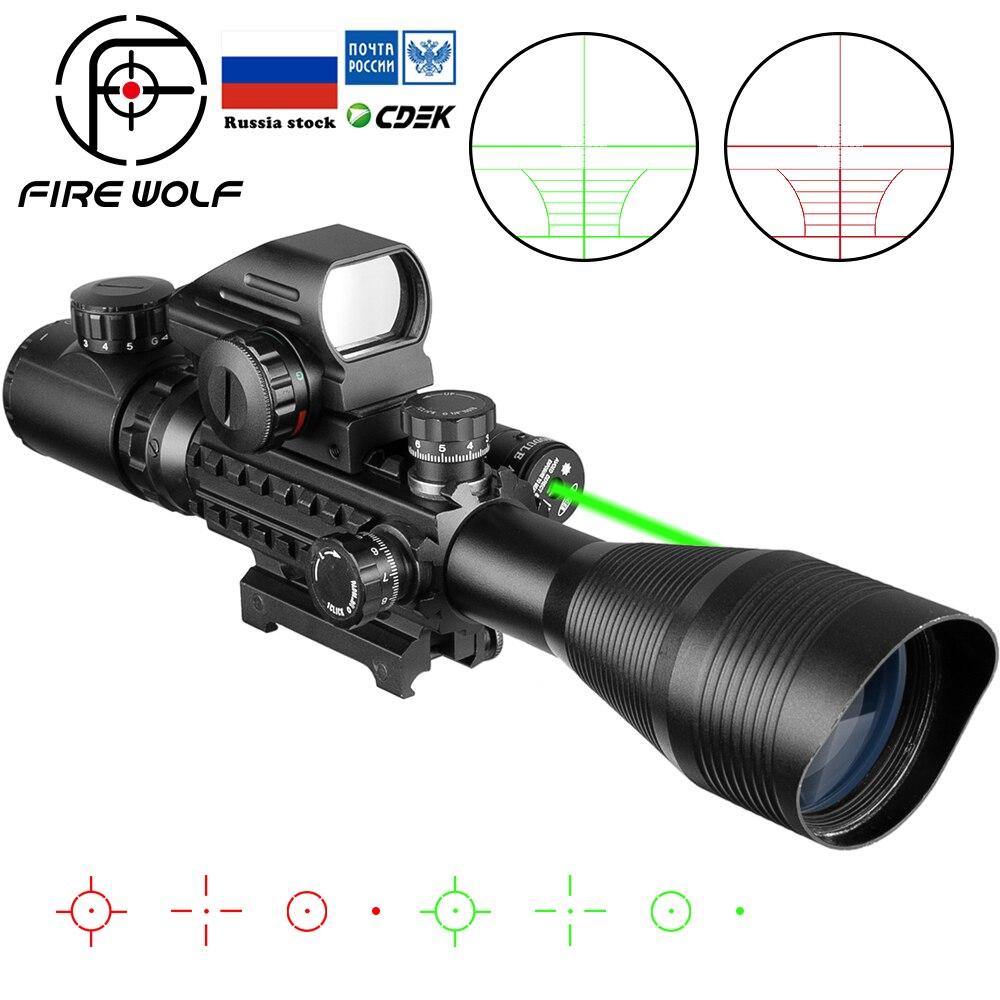 Fire Wolf 4-12x50 스코프 조명 레인지 파인더 레티클 라이플 홀로그램 4 레티클 사이트 20mm 레드 그렌 레이저 콤보
