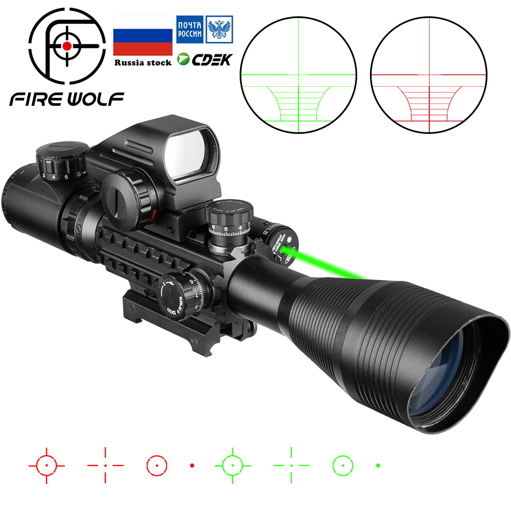 Fire Wolf 4-12x50 Scope Illuminated Rangefinder Reticle Rifle Holographic 4 Reticle Sight 20mm Red Grenn Laser Combo