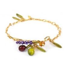 Elegantes púrpuras brotes fruit gem hojas esmalte esmalte pulseras brazaletes hembra fina de la joyería simple del todo-fósforo
