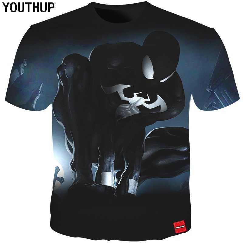 Youthup 2020 Nero T Camicette Uomini 3D Stampa Magliette Shirt Homme Spiderman Fresco di Stampa T-Shirt Maschio Magliette E Camicette di Modo Streetwear Plus formato