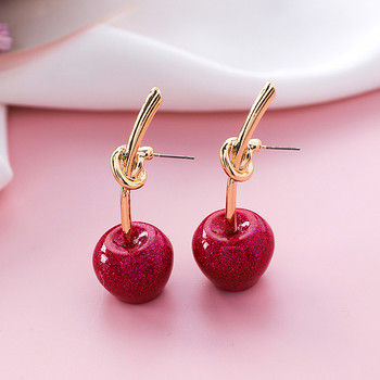 Fashion women Japanese soft sister sequins flashing red cherry earrings Sweet female joker golden cherry eardrop.jpg 350x350 - Fashion women Japanese soft sister sequins flashing red cherry earrings Sweet female joker golden cherry eardrop knot earrings