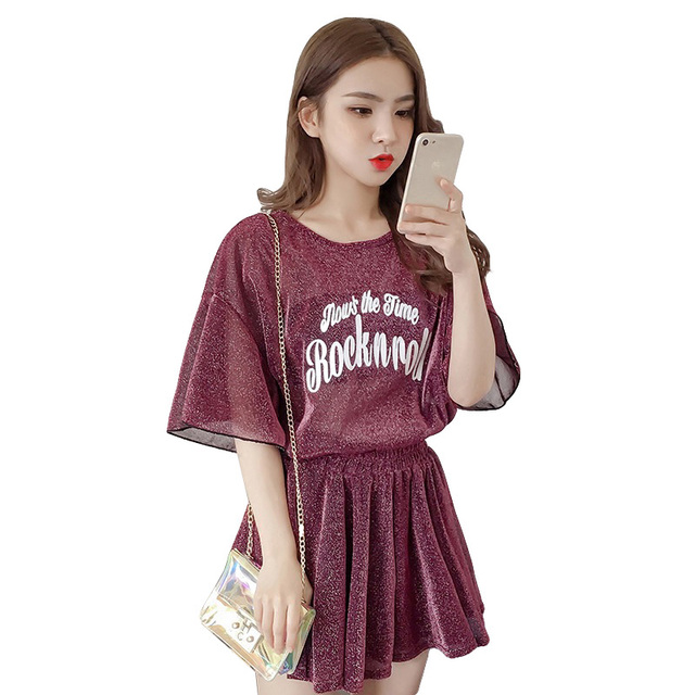 2019 New Women Suit Print T Shirts With Short Skirts Set Female Fashion Shining Dress Two Piece Suits Casual Summer Outfits